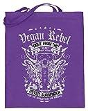 Shirtee Vegan Rebel - Jutebeutel (mit langen Henkeln) -38cm-42cm-Violett