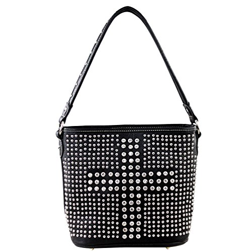 Montana West Collection Bling Bling Sac Seau et Portefeuille Noir