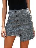 Melegant Damen Herbst Rock Elegant Kurz Asymmetrisch High Waist Knöpfe Sommer Skirt Streetwear Winter Grau