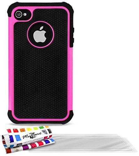 Flip-Case APPLE IPHONE 4S [CroCoChic Premium] [Schwarz] von MUZZANO + 3 Display-Schutzfolien UltraClear + STIFT und MICROFASERTUCH MUZZANO® GRATIS - Das ULTIMATIVE, ELEGANTE UND LANGLEBIGE Schutz-Case Bonbon-Rosa + 3 Displayschutzfolien