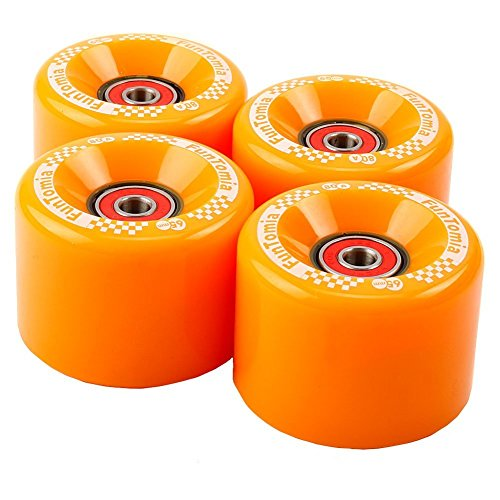 FunTomia 4 Stück Longboard/Skateboard/Mini-Board Rollen (Big Wheels) in 65x45mm 80A inkl. Mach1® Kugellager und Metall Spacer 80A Rollenhärte