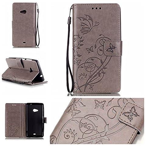 Jepson Nokia Microsoft Lumia 535 / n535 (5,0 Zoll) Hülle, Leadertasche Premium Lederhülle Flip Case im Bookstyle Folio Cover Kartenfächer Magnetverschluss und Standfunktion Leder Schale Etui für Handytasche Schutzhülle Prägung Schmetterling Muster.