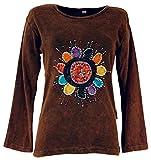 Guru-Shop Goa Langarmshirt Stonewash, Damen, Braun, Baumwolle, Size:S (36), Pullover, Longsleeves & Sweatshirts Alternative Bekleidung