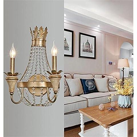 lámpara de hierro con cabeza creativa minimalista American Crystal pared
