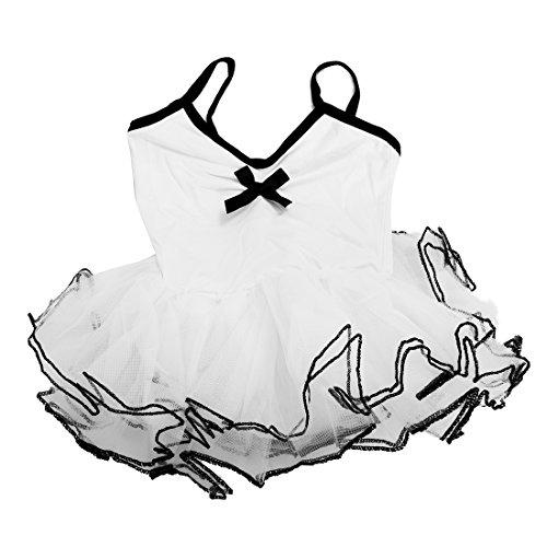 Timagebreze Neue Maedchen Ballett Kostuem Tutu Kinder Party Trikots Tanz Skate Kleid weiss 120cm