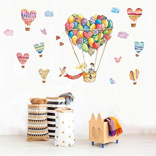 Cartoon Colorful Heart Shaped Hot Air Balloon Wall Stickers Bird Butterfly Cloud Decorative Couple Bedroom Living Room Wallpaper (Balloon Hot Air Butterfly)
