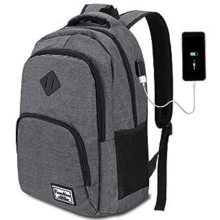 YAMTION Laptop Rucksack Herren Arbeit Rucksack Schulrucksack mit USB-Ladeanschluss für Business Wandern Reisen Camping,Oxford,20-35L