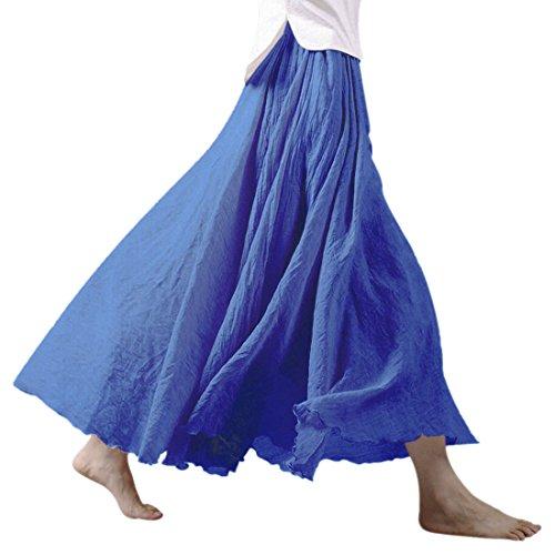 Nlife Frauen böhmische Baumwolle Leinen Double Layer elastische Taille langen Langer RockMaxi Rock- Gr. 95CM, Denim Blue - Leinen Mischung Rock