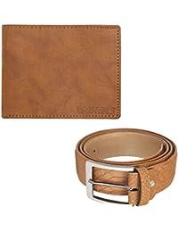 Laurels Men's Golden Leather Wallet and Belt - Pack of 2