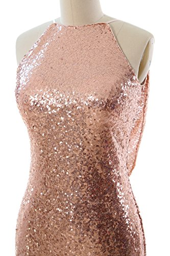 MACloth Women Halter Sequin Long Bridesmaid Dress Cowlback Evening Prom Gown gold