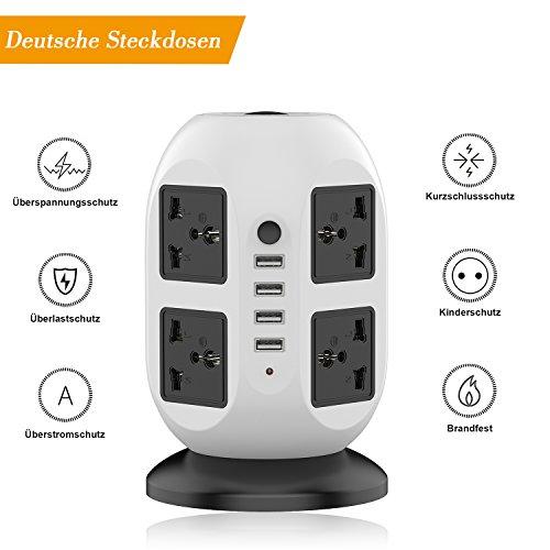 Ab 8 Steckdosen Überspannungsschutz (LESHP Steckdosenleiste 8-fach 4 USB Ports Überspannungsschutz Steckdosenturm EU Plug 2500W 110-250V (schwarz + weiß))