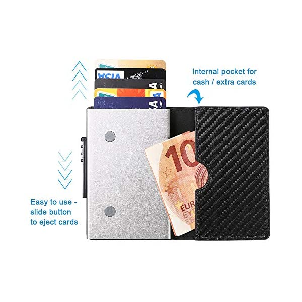 Portafoglio carte di credito metallo, URAQT Portafoglio di protezione per porta carte RFID, ladro di identificazione che… 4 spesavip