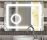 Design LED Badspiegel mit integriertem Kosmetikspiegel, 60x80 cm (abgerundet), Badspiegel, neutralweiß, A+ energiesparende LED -Beleuchtung, Spiegel