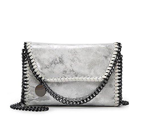 1 Silber-handtasche (Angleliu Damen PU lässigen Kette Handtasche Modisch Schultertaschen Glitzer Beuteltasche (Kleiner silberner Stil))