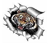 Sticar-it Ltd ZERRISSENES METALL Auto-aufkleber Bengalischer Tiger Brüllen design Vinyl aufkleber - Multi, A4 300x200mm approx