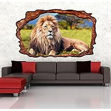 3D Wandmotiv Lwe Tier Afrika Savanne Wandbild Wandsticker Selbstklebend Wandtattoo Wohnzimmer Wand Aufkleber 11E251