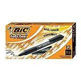 Bic Soft FeelClic Grip Penna a Sfera, a Scatto, Punta Media da 1,0mm, Confezione da 12 Pezzi, Colore Nero