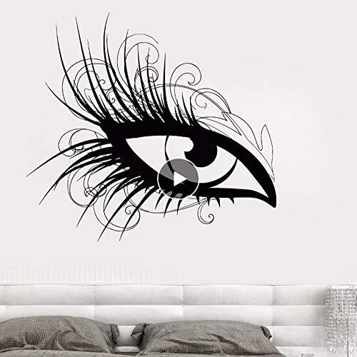Wandaufkleber Auge Schönheitssalon Wandtattoo Augen Make-Up Kosmetische Wandbild Augen Salon Decor Wimpernverlängerung Aufkleber 62 * 57 Cm ()