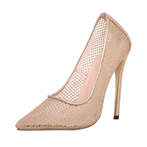 ELEHOT Donna Elequit tacco a spillo 12CM Synthetic Sandali, oro, 37