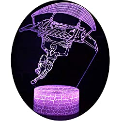 3D Optische Illusions-Lampen Win-Y LED-Schreibtisch Tischlampe 7 Farb-Touch-Lampen-Ausgang Schlafzimmer-Büro-Dekor für Kindergeburtstag Weihnachtsgeschenk (Parachuting 2)
