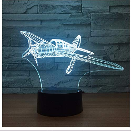 Propeller Aircraft 3D Led Lamp 7 Night Night Lamps per bambini Touch USB Table Lampara Lampe Baby Sleeping Nightlight Light Box