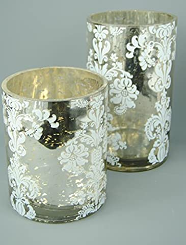 Silver and White Mercury Tall Candle Holders with Flock Votive Detail