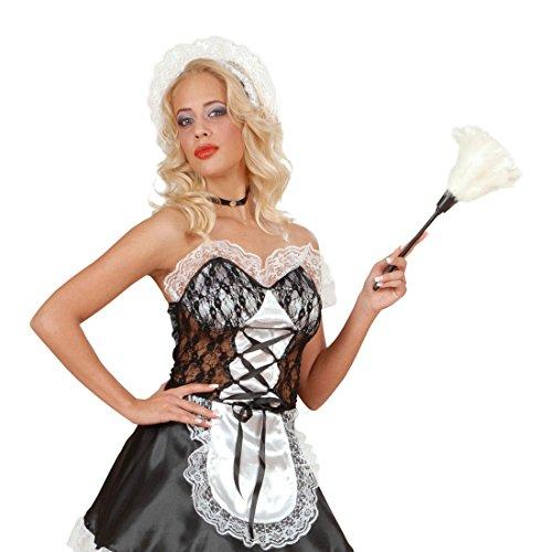 Weißer Staubwedel Staubbesen weiß Staub Besen Putzwedel Staubfeger Putzfrau Zimmermädchen Kostüm Accessoire Dienstmädchen