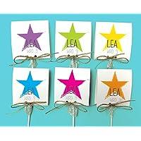 Einladungskarten Kindergeburtstag mit Stern COLOR inkl. Lollies oder Gummibärchen