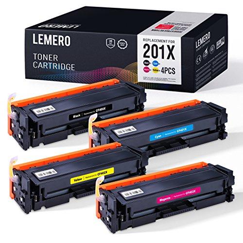 4 LEMERO Kompatibel Farbe Toner für HP 201X 201A CF400X CF401X CF402X CF403X CF400A für HP Color Laserjet Pro M250 Series M252 M252N M252DN M252DW M270 Series MFP M274N M274DN M277N M277DW