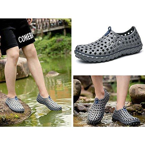 Eastlion Breathable Loch Sandalen Sommer Herren Garten Schnell trocknend Mesh Schuhe Massage Bottom Cool Water Schuhe Grau