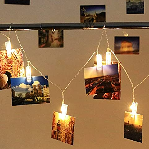 20 LED-Foto-Clips String Lights Indoor / Outdoor, Weihnachtsbeleuchtung, USB Powered,