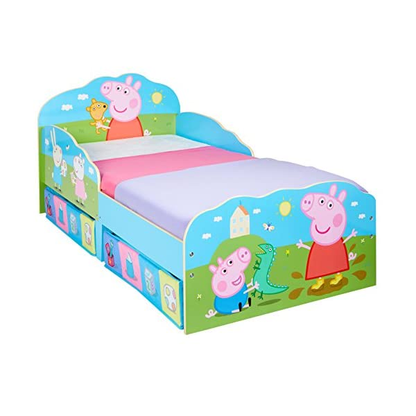 HelloHome Peppa Pig Toddler Bed with Underbed Storage, Wood, Multi, 142 x 77 x 63 cm  Perfect for transitioning your little one from cot to first big bed The perfect size for toddlers, low to the ground with protective side guards to keep your little one safe and snug Two handy underbed, fabric storage drawers 1