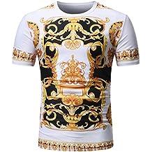 557fce23940e35 Heißer Sommer Rundhalsausschnitt Pullover T-Shirt Kurzarm Top Gold Schwarz  Mystery Print T Shirt GreatestPAK