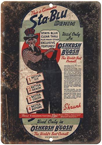 Forry OshKosh B'Gosh Overall Union Me Denim Metall Poster Retro Blechschilder Vintage Schild Zum Cafe Bar Garage Wohnzimmer Schlafzimmer Haus Restaurant Hotel Oshkosh Overall