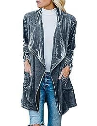 024a25c5ce5 NPRADLA Women Solid Regular Frill Slim Fit Long Sleeve Peplum Velvet Coat  Cardigan