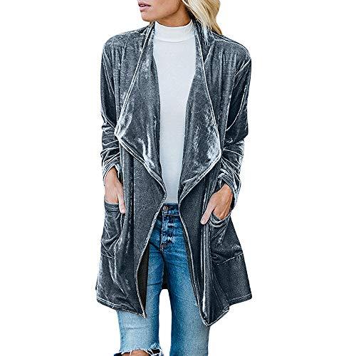 IMJONO Womens Drape Velvet Jacket Open Front Cardigan Coat mit Taschen (X-Large,Grau)
