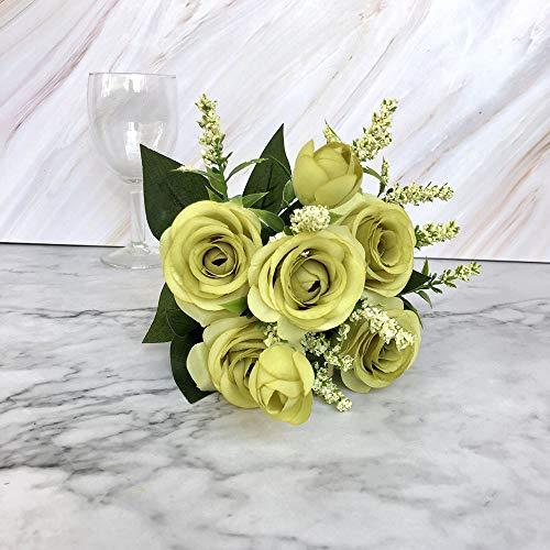JIJI886 Unechte Blumen, DIY Blühende Rose Blumen Künstliche Gefälschte Bouquet Dekorativer Blumentopf Vase für Das Wohnzimmer Zuhause Hochzeiten Hause Garten Party...