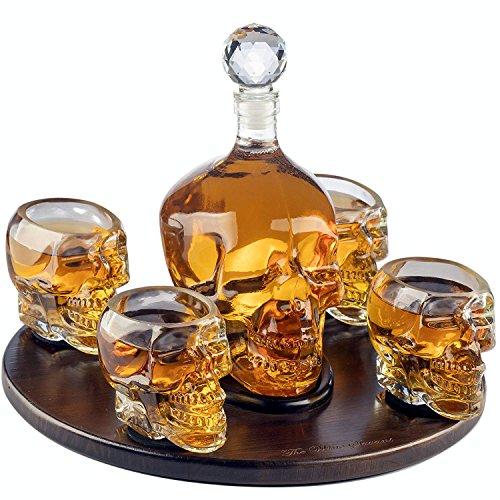 (Namenlos Große Schädel Gesicht Dekanter mit 4 Schädel Schnapsgläsern und schöne Holzsockel - Durch Verwendung Schädelkopfschale für einen Whisky, Scotch und Wodka Schnapsglas)