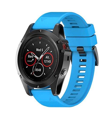 ZEZKT-Uhrenarmband ┇ For Garmin Fenix 5X GPS Watch - Uhrenarmband Watch Straps| Silikon Uhrenband mit Schnellverschluss für klassische Uhr und Smartwatch (Blau)