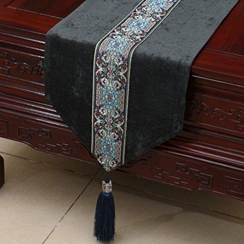 QiangZi Table Runner Easy Care Simple Doux Au Toucher Nappes De Style Européen Napperon, 33 * 300CM ( Couleur : Noir , taille : 33*300CM )
