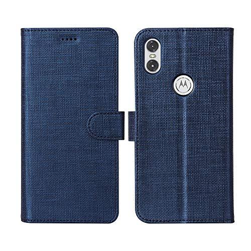 CRESEE Motorola One Hülle, Handyhülle Leder Tasche Flip Case Schutzhülle Bildschirmschutz Magnetische Cover Standfunktion Kartenfächer Stoßfestes Brieftasche Tasche Fall für Motorola One (Blau)