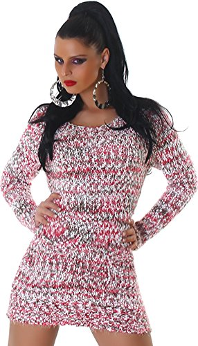 Confortable tricot pull tricot robe mini robe col rond de Jela femmes Londres pink