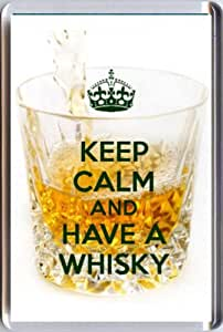 KEEP CALM and HAVE A WHISKY Fridge Magnet printed on an image of a crystal glass of whisky. A unique gift for a Whisky Lover.