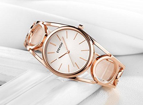 ETEVON Frauen Quarz Rose Gold Armbanduhr mit Runden Hohlen Armband Rostfreier Stahl Wasserdicht, Mode Luxus Verkleiden Armbanduhren für Damen - 3