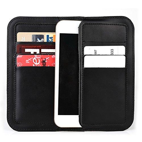 Étui portefeuille en cuir véritable pour Prestigio MultiPhone 5450Duo pour Brun - peau noir - noir