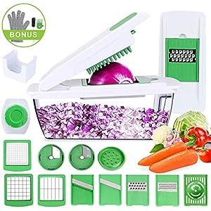 Gemüseschneider Spiralschneider, Uvistare Vielseitiger Gemüsehobel Kartoffelschneider Obstschneider, Praktischer Küchenhelfer mit Schnittschutz-Handschuh, Ideal für das tägliche Kochen