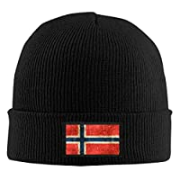 gdingxiansunyunjiaf Vintage Aged and Scratched Norwegian Flag Unisex Warm Winter Hat Knit Beanie Skull Cap Cuff Beanie Hat Winter Hats Black