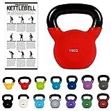 MSPORTS Kettlebell Neopren 2 - 30 kg inkl. Übungsposter (14 Kg - Rot) Kugelhantel