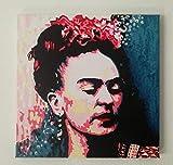 FRATTA Frida Kahlo–Bild moderne handbemalt–Pop Art Effect formato 30 x 30 cm