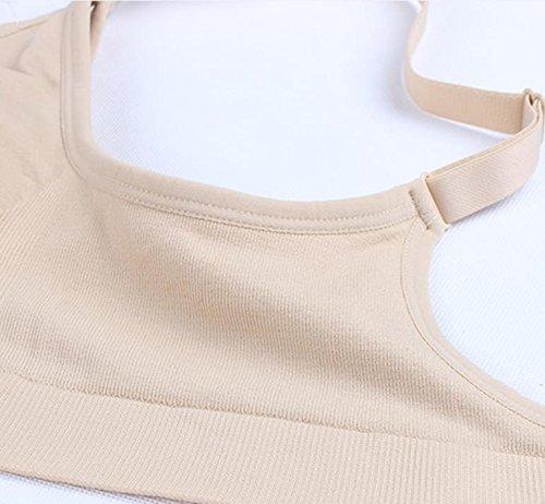 Bllatta soutien-gorge d'allaitement femme Noir+Beige
